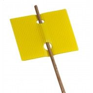 Etiquette jaune percée